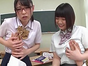 Hot Japanese schoolgirls in a gang bang