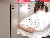 Hot schoolgirl Mogami Kasumi enjoys as she is teased