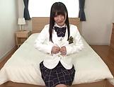 Savoury Japanese schoolgirl Hakii Haruka masturbates on camera picture 11