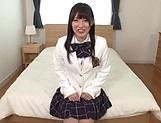 Savoury Japanese schoolgirl Hakii Haruka masturbates on camera