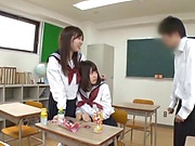 Horny Japanese babes get freaky with a wild teacher