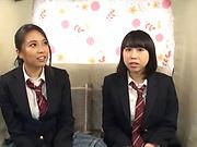 Sensual schoolgirl in a raunchy teasing scene indoors