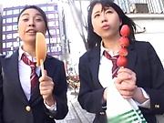 Wild hardcore romp involving two curvy Asian hotties