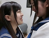 Lesbian intercourse between Japanese schoolgirls,at home