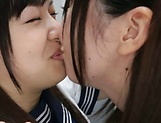 Lesbian intercourse between Japanese schoolgirls,at home picture 14