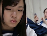 Lesbian intercourse between Japanese schoolgirls,at home