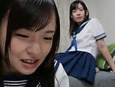 Lesbian intercourse between Japanese schoolgirls,at home picture 4