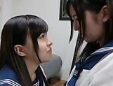 Lesbian intercourse between Japanese schoolgirls,at home picture 8