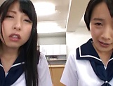 Schoolgirl sharing dick in class during Asian POV