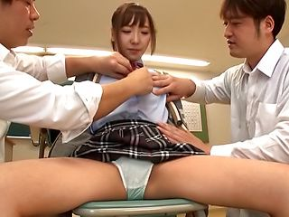 Mogami Kasumi fucked in vlass by two of her colleagues