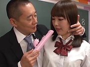 Schoolgirl seems to give good blowjobs