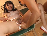 Hot Satomi Sakai loves giving a double blowjob picture 60