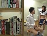 Horny schoolgirl had sex in the library