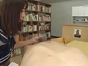 Horny schoolgirl had sex in the library