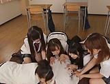 Japanese schoolgirl is having group sex