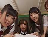 Japanese schoolgirl is having group sex picture 12