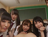 Japanese schoolgirl is having group sex picture 15