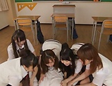Japanese schoolgirl is having group sex picture 9