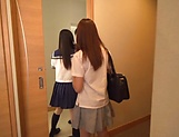 Aroused schoolgirls had a threesome