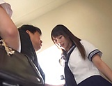 Aroused schoolgirls had a threesome picture 3