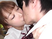 Japanese schoolgirl got a hot cumshot