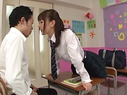 Hot schoolgirl is having a threesome