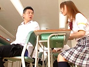 Glamorous Japanese schoolgirl Aise Miki gets poked from behind