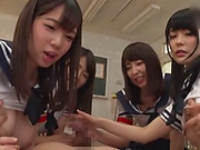 Group sex for horny Japanese schoolgirls