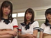 Group sex for horny Japanese schoolgirls