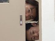 Japanese schoolgirl Hakii Haruka blows her PE teacher and eats cum