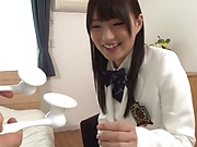 Pigtailed Japanese teen Hakii Haruka gets tits pumped and toyed