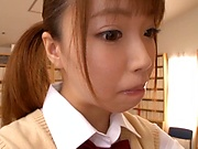 Petite Japanese teen Aise Miki blows and rides a dick in the library