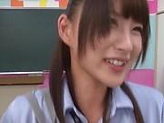 Asian schoolgirl Hakii Haruka licks assholes and gets screwed in mmf sex
