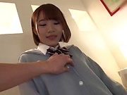 Frisky schoolgirl is into a creampie