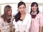 Schoolgirl with big tits having foursome