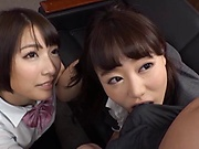 Luscious Asian schoolgirls with big tits seduce a hot dude for ffm sex