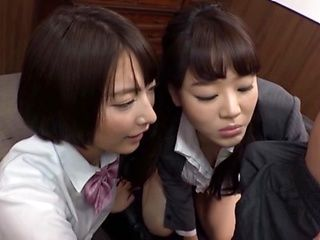 Luscious Asian schoolgirls with big tits seduce a hot dude for ffm sex