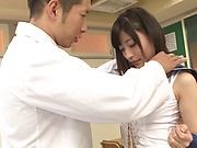 Juicy Japanese schoolgirl Kitano Nozomi gets poked in the classroom