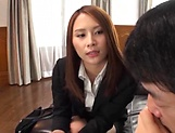 Cute Asian office lady has gets her shaved pussy climaxed picture 14