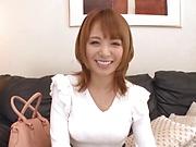 Hoshimi Rika enjoys offering a sensual blowjob on a stiff pole