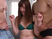 Japanese chick likes casual threesomes