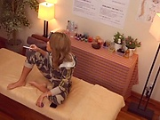Blonde woman enjoys hard dick during massage session