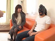 Masked hunk love teasing with a curvy hot teen