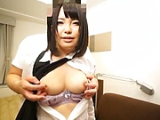 Big tits AV model from Japan enjoys titfucking and doggy-style bang