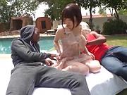 Hardcore interracial threesome involving spicy Sakura Kizuna