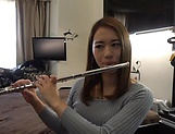 Sweet Japanese teen sings the flute and the cock