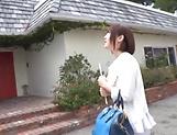 Cute Sakura Kizuna gets her shaved twat drilled hard outdoors picture 11