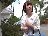 Cute Sakura Kizuna gets her shaved twat drilled hard outdoors picture 13