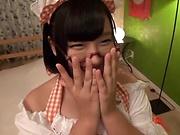 Sweet teen in glasses Hana Yurino gets nailed