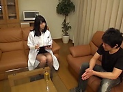 Lusty Japanese nurse strips for a blowjob and deep pounding